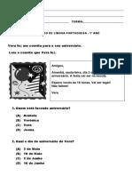 SIMULADO DE LÍNGUA PORTUGUESA - 1º ANO 2º BIM (2011)