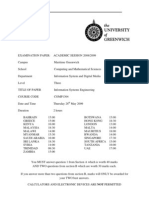 Information Systems Engineering Exam June 2009 - UK University BSc Final Year