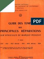 Guide Des Temps Des Principales Reparations Sur Vehicules de Marque Peugeot