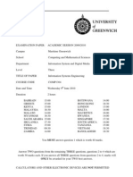 Information Systems Engineering Exam June 2010 - UK University BSc Final Year