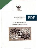 La interpretación en la Orientación Lacaniana - Seminario Interno Área Clínica CIEC