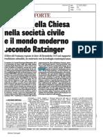 L'azione della Chiesa nella society civile e il mondo moderno secondo Ratzinger