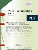 Week 4 Boolean Algebra Part-1- 2021