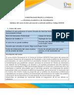 Syllabus del curso Acción psicosocial y contexto jurídico, Código 403030