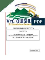 MEMORIA DESCRIPTIVA  MOVIMIENTO DE TIERRAS  Y MANTENIMIENTO DE VÍAS PCS 2021 - VYC Quishuar SJ
