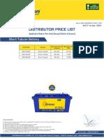 Eastman Pricelist Short Tubular Battery - Pan India (Except Odisha & Assam) wef 1st Apr-21