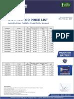 Addo Price List Inverter Battery - Pan India (Except Odisha & Assam) Wef 1st Apr-21