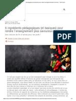 6 Ingrédients Pédagogiques (Et Basiques) Pour Rendre l'Enseignement Plus Savoureux - Thot Cursus