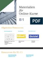 Materialien für Online-Kurse B1