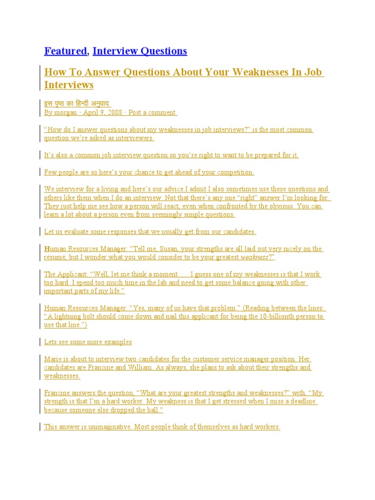 Interview Questions Resume Job Interview