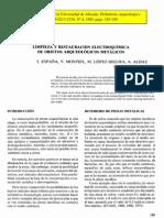 España, T. et al. Limpieza y rest. electroquímical objetos arq. metálicos. 1985