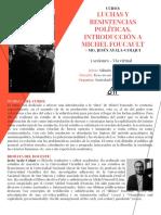 Sílabo - Cursos Luchas y Resistencias Políticas en Michel Foucault - Mg. Jesús Ayala-Colqui