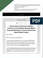 Sensys Gatso's response to Buffalo Common Council Member Rasheed Wyatt's proposed resolution to cancel school zone speed safety program