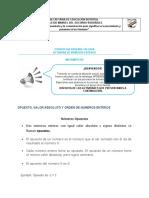 ACTIVIDADES DE ORDEN Y VALOR ABSOLUTO DE LOS ENTEROS
