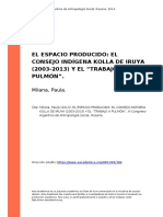Milana, Paula (2014). El Espacio Producido