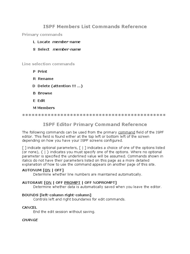 ISPF Editor Command Reference  | Parameter (Computer