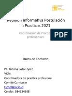 Reunión Informativa Postulación a Practicas 2021 Lanzamiento Primeros Cupos