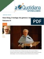 Hans Küng, il teologo che gettava i semi del Vaticano III