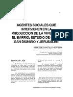 AGENTES SOCIALES QUE INTERVIENEN EN LA PRODUCCIÓN DE LA VIVIENDA