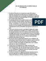 EN CONTRA DE LOS ABUSOS DE LA FUERZA PUBLICA COLOMBIANA