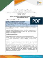 Guia de actividades y rúbrica de evaluación - Unidad 1- Fase  2 - Indicadores de gestión
