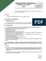 PROCEDIMIENTO PARA LA PREVENCIÓN Y CONTROL DEL COVID-19 V12