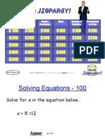 Math Jeopardy Algebra
