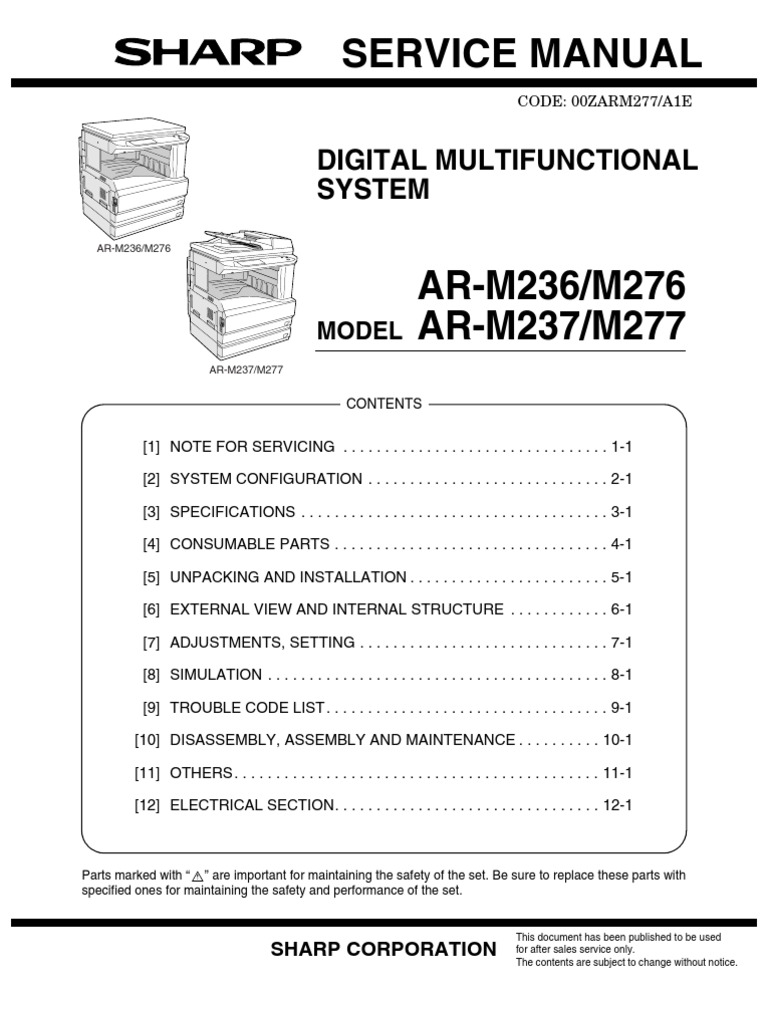 service manual sharp ar m237 image scanner printer computing rh scribd com NexusLink 5631 Manual sharp ar-5631 parts guide