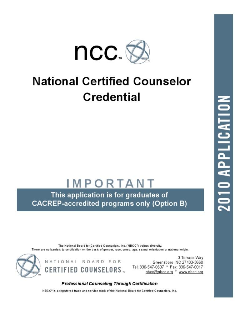 Ncc Option B School Counselor Professional Certification