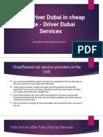 Safe Driver Dubai in Cheap Rate - Driver