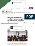 CEO da corretora cripto Coinbase lançará coleção de NFTs de música eletrônica