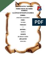 Jonathan Asaquibay 1ro BGU C Portafolio de Quimica Del Primer Parcial Del Primer Quimestre
