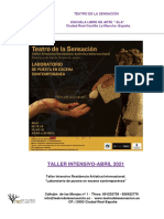 Teatro de La Sensacion-taller Intensivo Residencia Artistica Internacional 2021