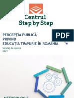 Sondajul Centrului Step by Step, realizat de IRES, referitor la Perceptia publica privind educatia timpurie 2021