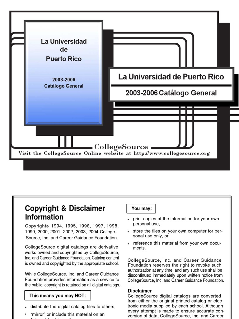 Catalogo UPR Subgraduado-2003-2006