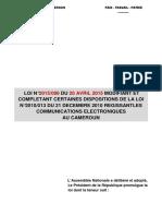 LOI N°2015 006 DU 20 AVRIL 2015 MODIFIANT ET COMPLETANT CERTAINES DISPOSITIONS DE LA LOI  DE 2010 LCE