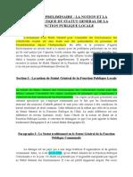 002-CHAPITRE PRELIMINAIRE_LA NOTION ET LA PROBLEMATIQUE DU STATUT GENERAL DE LA FONCTION PUBLIQUE LOCALE