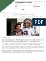 Cultura Indígena Apagamento