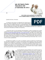 Carta Papa Cuaresma 2011