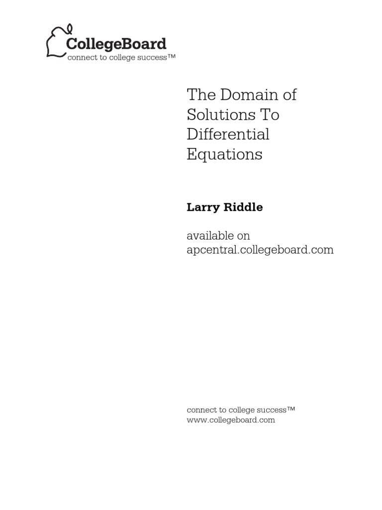 The Domain of Solutions to Differential Equations | Ordinary Differential  Equation | Advanced Placement
