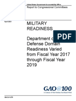 MILITARY READINESS Department of Defense Domain Readiness Varied from Fiscal Year 2017 through Fiscal Year 2019