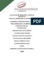 CONTROL CONSTITUCIONAL COMO MECANISMO DE LA SUPREMACÍA CONSTITUCIONAL