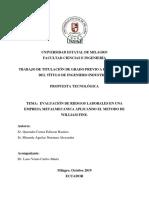 2-EVALUACION DE RIESGOS LABORALES EN UNA EMPRESA METALMECANICA APLICANDO EL METODO DE WILLIAN FINE.