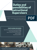 Duties and Responsibilities of Instructional Supervisors