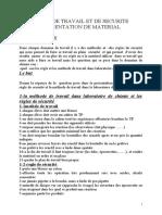 TP n°1 règle de travail et de sécurité présentation de matériel