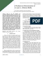 Studies on Postharvest Deterioration of Allium Cepa L. (Onion) Bulbs