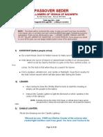 PASSOVER SEDER - (Revised 3-12-21)