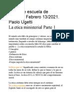 Escuela de Obreros La Etica Ministerial Paolo Uguetti