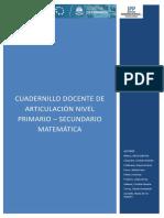 CUADERNILLO DEL DOCENTE- ARTICULACIÓN  MATEMÁTICA- NOVIEMBRE 2019