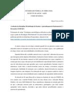 Avaliação da disciplina Metodologia do Ensino e Aprendizagem do Instrumento 2 – Percussão (GMU023)